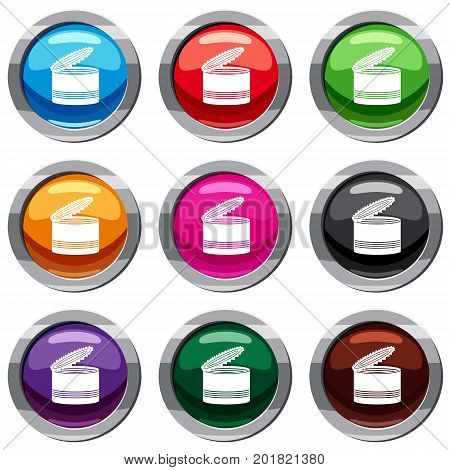 Open tin can set icon isolated on white. 9 icon collection vector illustration