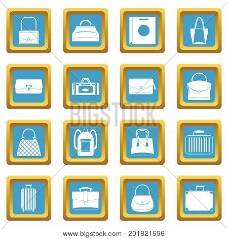 Bag baggage suitcase icons set in azur color isolated vector illustration for web and any design
