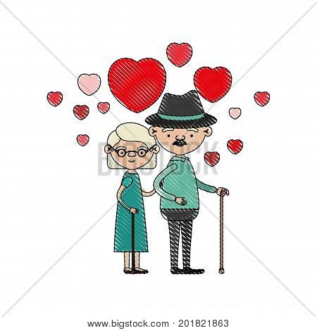 color crayon silhouette of caricature full body elderly couple embraced with floating hearts grandfather with hat in walking stick and grandmother with short hair vector illustration