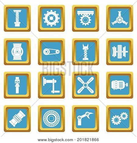 Techno mechanisms kit icons set in azur color isolated vector illustration for web and any design