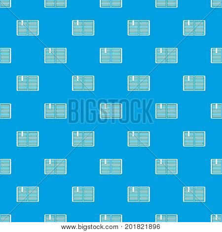 Open book with red bookmark pattern repeat seamless in blue color for any design. Vector geometric illustration