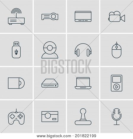 Editable Pack Of Game Controller, Cursor Controller, Joypad And Other Elements.  Vector Illustration Of 16 Hardware Icons.