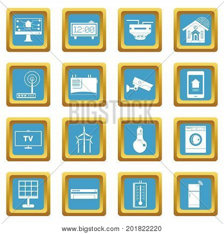 Smart home house icons set in azur color isolated vector illustration for web and any design