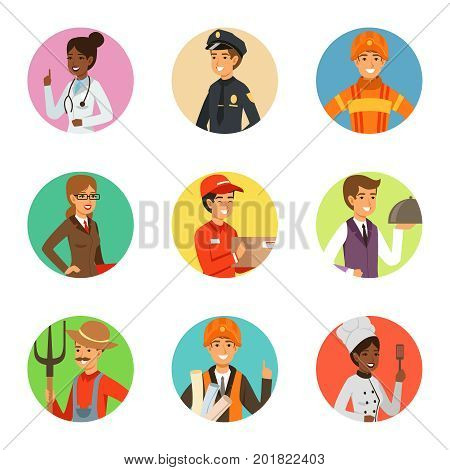 Vector avatars set with different professions. Avatar person profession courier and engineer illustration