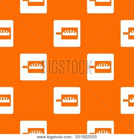 Bread baking pattern repeat seamless in orange color for any design. Vector geometric illustration