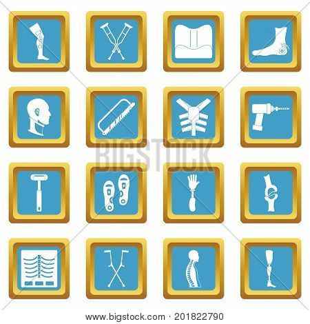 Orthopedics prosthetics icons set in azur color isolated vector illustration for web and any design