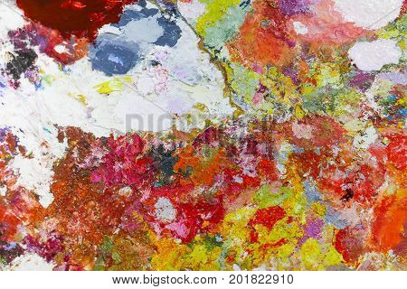 Abstract color Palette Acrylic Oil paint Color texture. Spots of oil paint. Modern art. Abstract art Painting background.