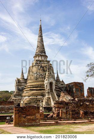 Old pagoda with blue sky in Ayutthaya Historical Park Ayutthaya Thailand