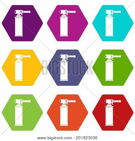 Gas cylinder icon set many color hexahedron isolated on white vector illustration