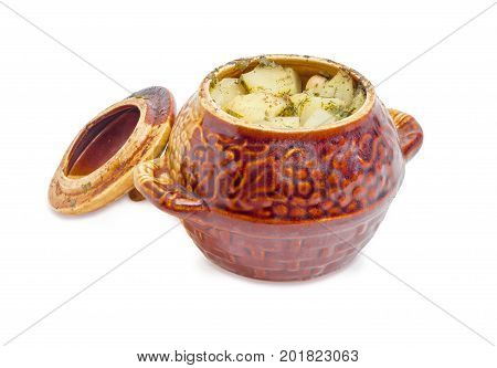 Dish Chanakhi - potatoes with meat mushrooms and haricot beans roasted in a clay pot with cover on a white background