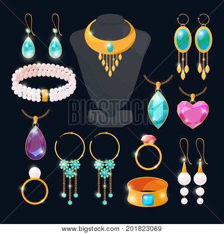 Luxury accessories for jewelry. Rings of gold, diamonds, ruby. Vector pictures set isolate. Gold and jewelry luxury, diamond and golden ring accessory illustration