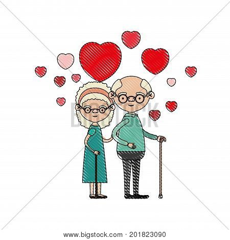 color crayon silhouette of caricature full body elderly couple embraced with floating hearts grandfather with glasses in walking stick and grandmother with bow lace and curly hair vector illustration