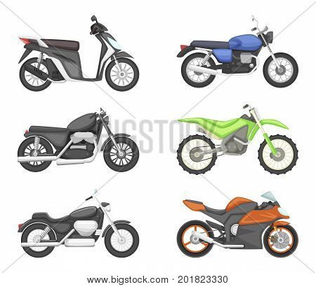 Different types of motorcycles. Vector set illustrations in cartoon style. Motorcycle speed transport collection