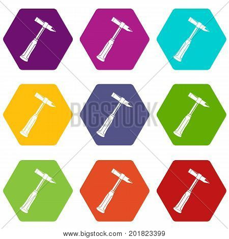 Hammer slag of welder icon set many color hexahedron isolated on white vector illustration
