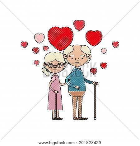 color crayon silhouette of caricature full body elderly couple embraced with floating hearts grandfather in walking stick and grandmother with collected hair and glasses vector illustration
