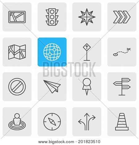 Editable Pack Of Arrow, Signpost, Compass And Other Elements.  Vector Illustration Of 16 Navigation Icons.