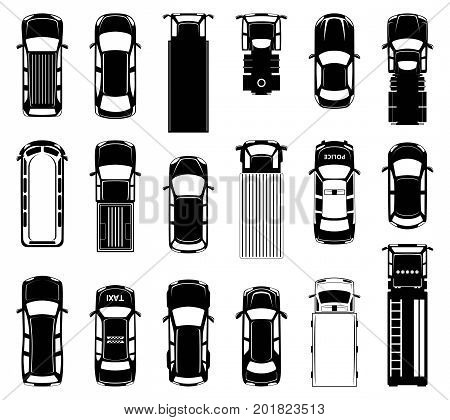 Top view of different roof cars on the road. Black vector icons of automobiles. Sedan monochrome transport, illustration of collection different automobile