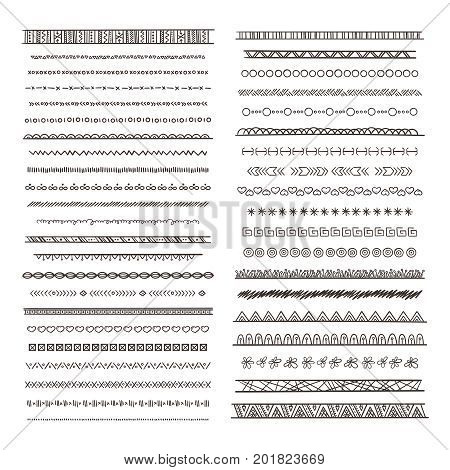 Tribal borders illustrations in boho style. Vector collection isolate. Hand drawn pictures monochrome border ethnic tribal ornament pattern