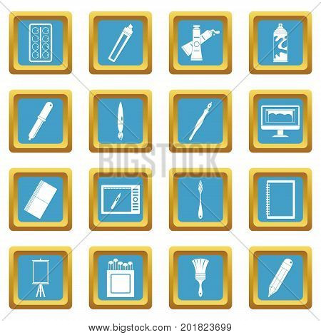 Design and drawing tools set. Simple illustration of 16 design and drawing tools vector icons set in azur color isolated vector illustration for web and any design