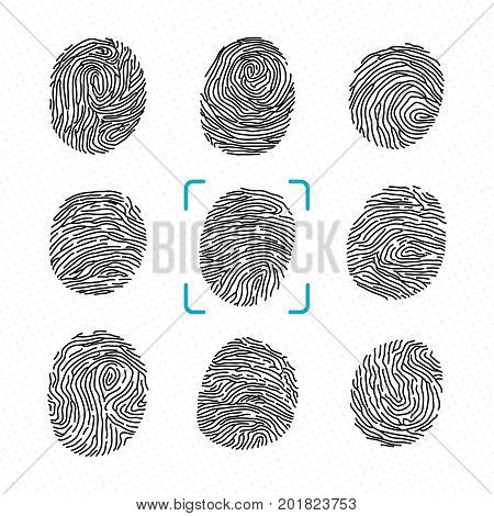 Set of different fingerprints. Police scanner for criminal identity. Vector monochrome illustrations. Finger print for security and identity