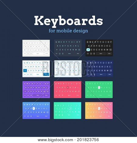 QWERTY mobile keyboards in different colors and styles. Mobile UI elements for prototyping and designing applications.