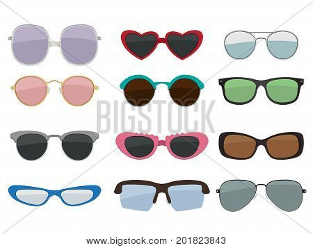 Vector isolated set of colored sunglasses. Fashion lens sunglasses, illustration of summer accessory