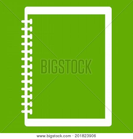Sketchbook icon white isolated on green background. Vector illustration