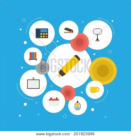Flat Icons Bookshop, Puncher, Highlighter And Other Vector Elements