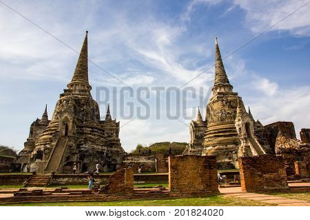 Two old pagoda with blue sky in Ayutthaya Historical Park Ayutthaya Thailand