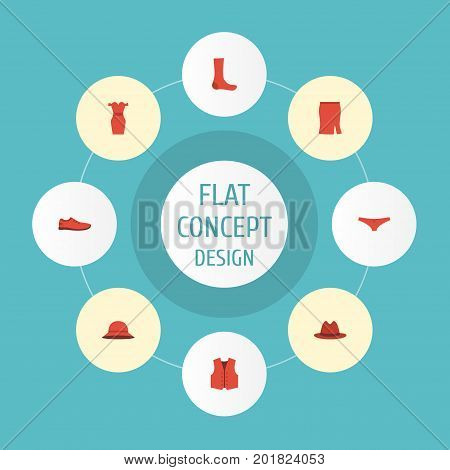 Flat Icons Hosiery, Fedora, Waistcoat And Other Vector Elements