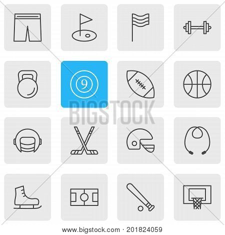 Editable Pack Of Baseball, Golf, Cue And Other Elements.  Vector Illustration Of 16 Fitness Icons.