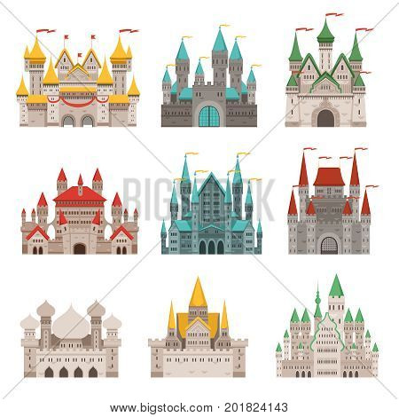 Medieval old castles and historical buildings with fairytale roofs. Medieval fairytale tower, castle building architecture collection illustration