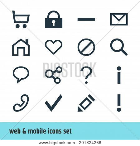 Editable Pack Of Mainpage, Letter, Info And Other Elements.  Vector Illustration Of 16 User Icons.