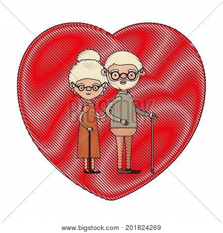 color crayon silhouette of heart shape greeting card with caricature full body elderly couple embraced bearded grandfather in walking stick and grandmother with curly bun hair vector illustration