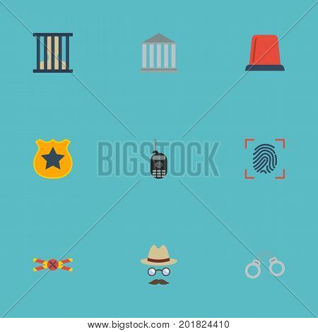 Flat Icons Thumbprint, Inspector, Building And Other Vector Elements