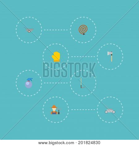 Flat Icons Cutter, Latex, Garden Hose And Other Vector Elements
