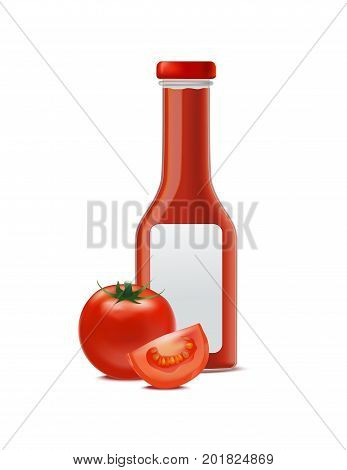 Realistic Glass Bottle for Tomato Sauces or Ketchup with Detailed Red Tomato and Segment Parts Fast Food. Vector illustration