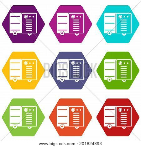 Inverter welding machine icon set many color hexahedron isolated on white vector illustration
