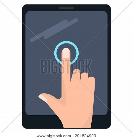 Single tap touch screen gesture on tablet vector illustration. Flat style design. Colorful graphics