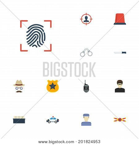 Flat Icons Thief, Inspector, Prisoner And Other Vector Elements