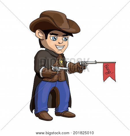 An illustration of a young american cowboy sheriff standing and holding guns