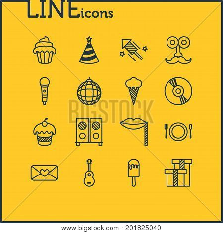 Editable Pack Of Firecracker, Musical Instrument, Nightclub Ball And Other Elements.  Vector Illustration Of 16 Banquet Icons.