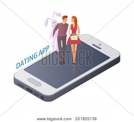 Mobile Dating app concept. Young couple, man and woman on a romantic date on the smartphone screen. Gifts for Valentine's day, plush Bunny and box with bow. Vector illustration, isolated on white.