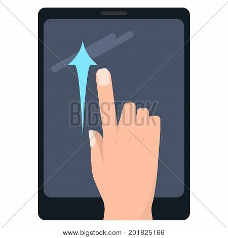 Swipe up touch screen gestures on tablet vector illustration. Flat style design. Colorful graphics