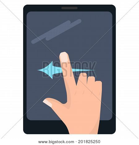 Swipe left touch screen gestures on tablet vector illustration. Flat style design. Colorful graphics