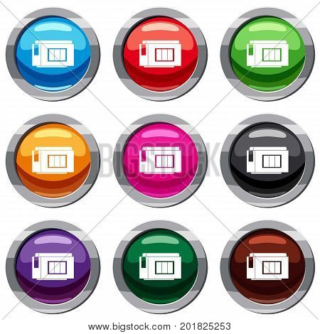 Inkjet printer cartridge set icon isolated on white. 9 icon collection vector illustration