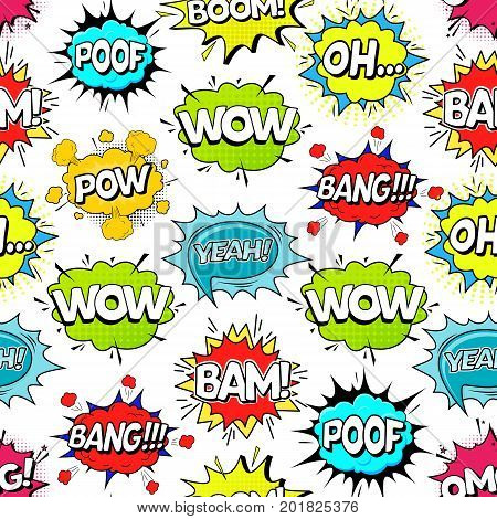 Comic Speach Bubble Effect Background Pattern on a White Pop Art Retro Style Web. Vector illustration
