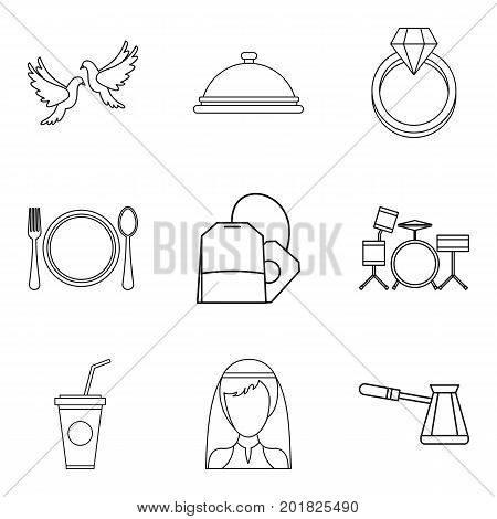 Alcohol icons set. Outline set of 9 alcohol vector icons for web isolated on white background