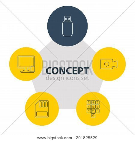 Editable Pack Of Storage, Movie Cam, Number Keypad And Other Elements.  Vector Illustration Of 5 Laptop Icons.