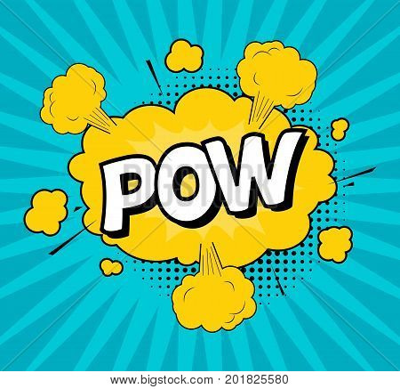 Comic Speach Bubble Effect Pow Pop Art Retro Style Web. Vector illustration
